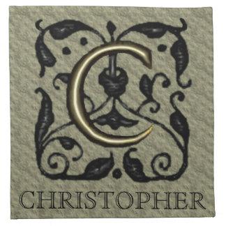 C - Monograma grabado en relieve del vintage (oro) Servilletas Imprimidas