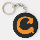 C Monogrammed Keychain (orange)