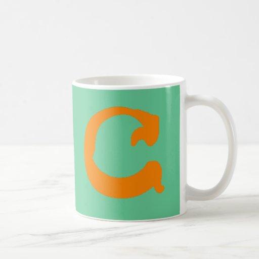 C Monogrammed Mug (orange, double C)