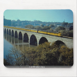 C & NW EMD E-6a+a #5005A with streamliner on bridg Mouse Pad