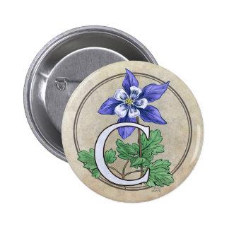 C para el botón redondo del monograma de la flor pin