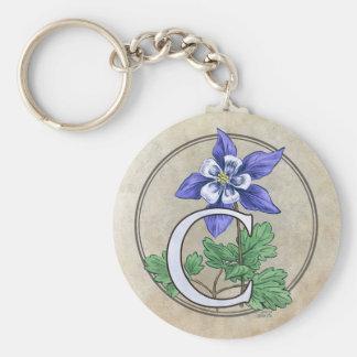 C para el llavero redondo del monograma de la flor