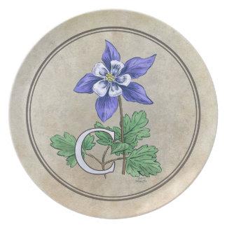 C para el monograma del alfabeto de la flor de plato de comida