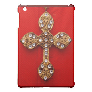 C R O S S - Cross Jewelled Bleeding Red Background Cover For The iPad Mini