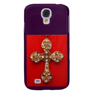 C R O S S - fondo rojo que sangra Jewelled cruz Funda Para Galaxy S4