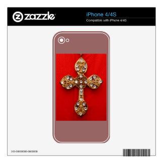 C R O S S - fondo rojo que sangra Jewelled cruz iPhone 4S Skin