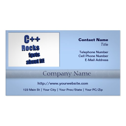 C++ Rocks FGet About It Business Card Template