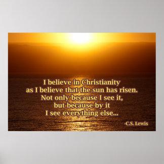 C.S. Cita del cristianismo de Lewis Póster
