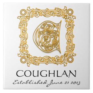 """C"" Surname Wedding Anniversary Day Monogram Tile"