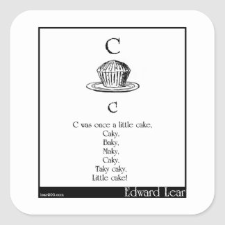 C was once a little cake square sticker