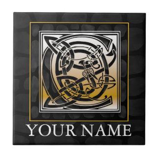 "C ""Your Name"" Celtic Black Stone Monogram Tile"