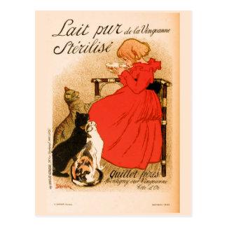ca 1890 vintage French Milk advertisement Postcard