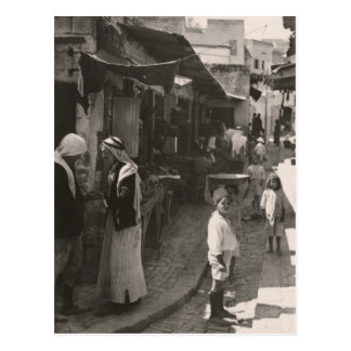 ca 1935 Street in Nazareth, vegetable market Postcard