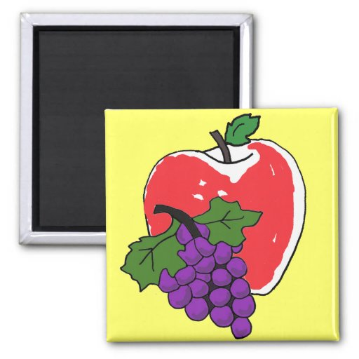 CA- Apple and Grapes Kitchen Magnt 2 Inch Square Magnet