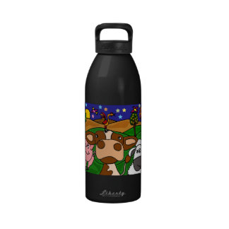 CA- Barnyard Animals Folk Art Water Bottle