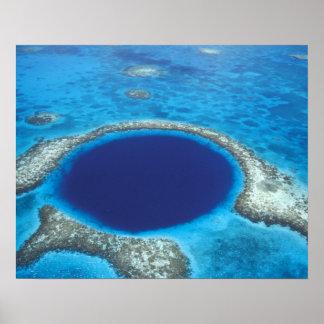 CA, Belice. Vista aérea del agujero azul (diámetro Impresiones