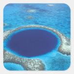 CA, Belice. Vista aérea del agujero azul (diámetro Pegatina Cuadrada