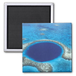 CA, Belize. Aerial view of Blue Hole (diameter 2 Inch Square Magnet