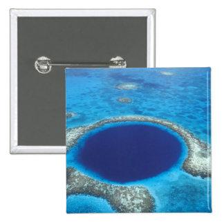 CA, Belize. Aerial view of Blue Hole (diameter Pinback Button