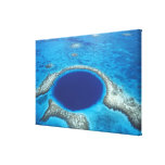 CA, Belize. Aerial view of Blue Hole (diameter Canvas Print