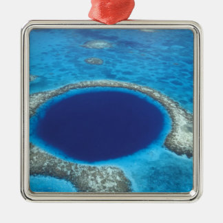 CA, Belize. Aerial view of Blue Hole (diameter Metal Ornament