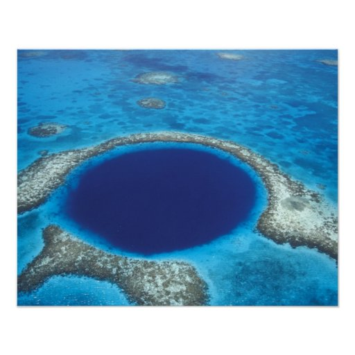 CA, Belize. Aerial view of Blue Hole (diameter Poster