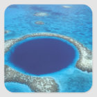 CA, Belize. Aerial view of Blue Hole (diameter Square Sticker