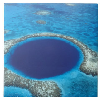 CA, Belize. Aerial view of Blue Hole (diameter Tile