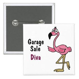 CA botón rosado de la diva de la venta de garaje d Pin Cuadrado