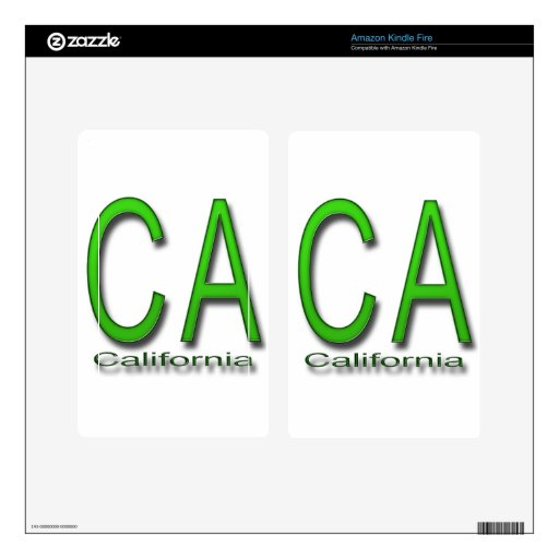 CA California green Decals For Kindle Fire