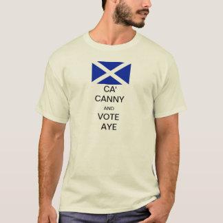 Ca cauto y voto Aye a la independencia escocesa Playera