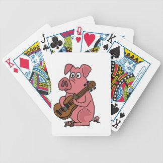 CA cerdo divertido que juega el dibujo animado de  Baraja De Cartas