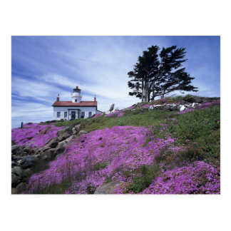 CA, Crescent City, Battery Point lighthouse with Postcard
