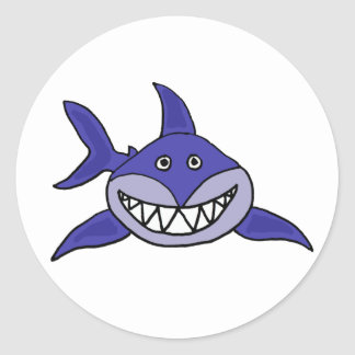CA dibujo animado de mueca hilarante del tiburón Pegatina Redonda
