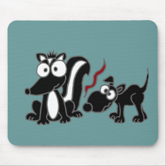 CA- Dog Sniffing Skunk Butt Cartoon Mouse Pad