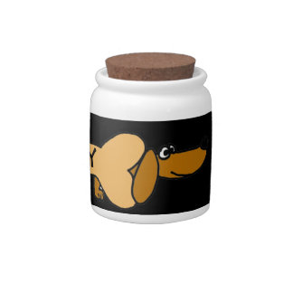 CA- Funny Dachshund Pet Treats Jar Candy Dish