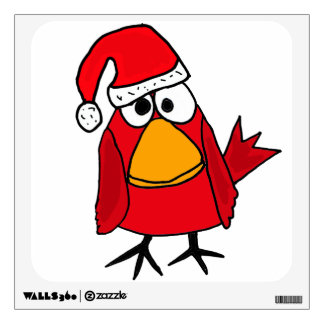 CA- Funny Red Cardinal Bird in Santa Hat Wal Decal