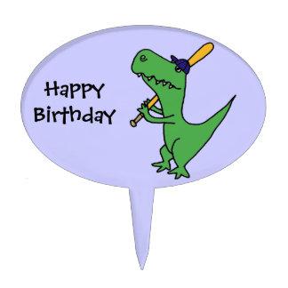 CA- Funny T-rex Dinosaur Playing Baseball Cake Top Cake Pick