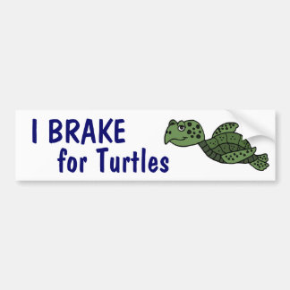 CA- I Brake for Turtles Bumper Sticker