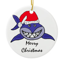 CA- Shark in a Santa Hat Christmas Ornament
