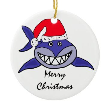 Christmas Themed CA- Shark in a Santa Hat Christmas Ornament