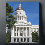 "CA state capitol building - Sacramento Plaque<br><div class=""desc"">CA state capitol building - Sacramento original photography by Lisa Woodburn of Dragon Dezyn Studios - c.2009 lwoodburn.imagekind.com lisa-woodburn.fineartamerica.com zazzle.com/dragonL8dy Beautiful front facade of the State Capitol Building in downtown Sacramento CA</div>"