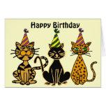 CA tarjeta de cumpleaños loca de los gatos