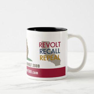 CA Tax Revolt 2009 Flag Drinkware Two-Tone Coffee Mug