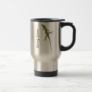 CA taza artsy verde del viaje del lagarto que va