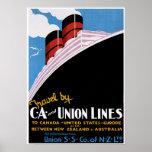 CA & Union Lines - Vintage Ship Advertisement Poster