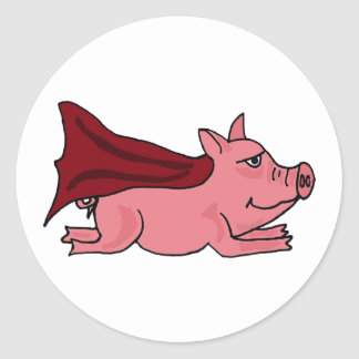 CA volar el dibujo animado estupendo del cerdo Etiqueta Redonda
