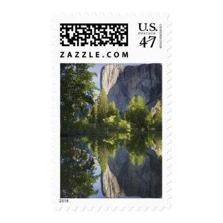 CA, Yosemite NP, El Capitan reflected in Merced Postage Stamp