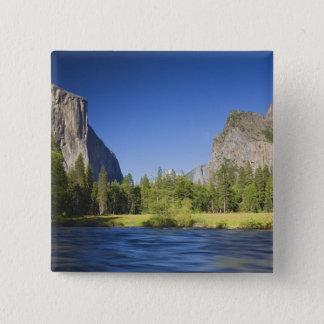 CA, Yosemite NP, Valley view with El Capitan, Pinback Button