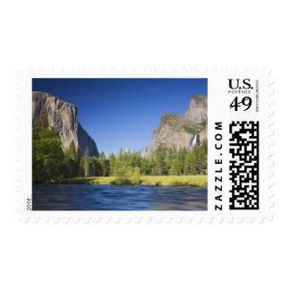 CA, Yosemite NP, Valley view with El Capitan, Postage Stamp